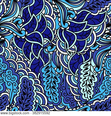 Floral Doodling Texture Pattern With Flowers. Blue Hand Drawing Flowers Ornament. Seamless Pattern C