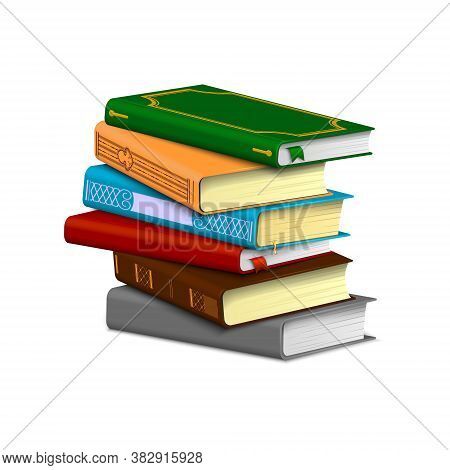 Stack Of Books With Visible Patterned And Empty Spines Isolated On A White Background.
