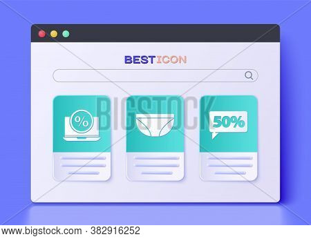 Set Underwear, Percent Discount And Laptop And Fifty Discount Percent Tag Icon. Vector