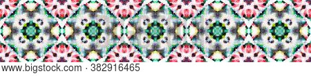 Tie Dye Effect. Rainbow Natural Ethnic Illustration. Red, Green, Black And White Textile Print. Trad