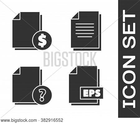 Set Eps File Document, Finance Document, Unknown Document And Document Icon. Vector