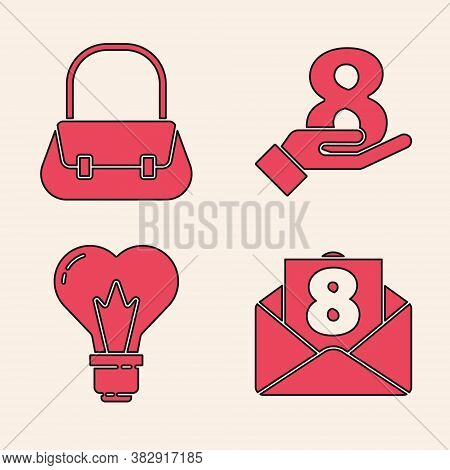 Set Envelope With 8 March, Handbag, 8 March On Hand And Heart Shape In A Light Bulb Icon. Vector