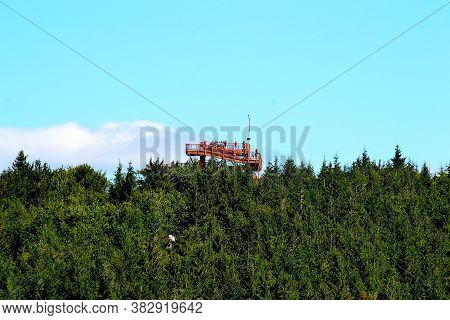 Photo Of A Viewing Platform Towering Over The Tops Of Trees In The Beskydy Mountains And Offering A