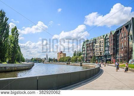 Kaliningrad, Russia - July 21, 2019: City Scene, View Of The Pregolya River Embankment In Kaliningra