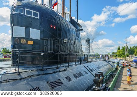 Kaliningrad, Russia - July 25, 2019: The Soviet Submarine Is A Part Of The Exhibition At The Museum