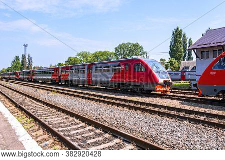 Zelenogradsk, Russia - July 29, 2019: View Of The Train Station And Commuter Trains That Run Between