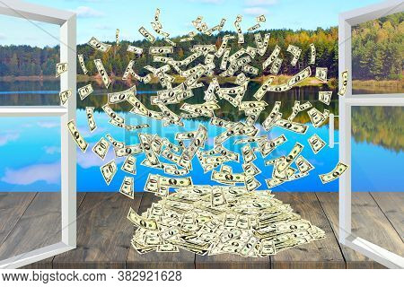 Pile Of Dollars Flying Away From Window Overlooking Forest Lake. Dollar Bills By Opened Window With
