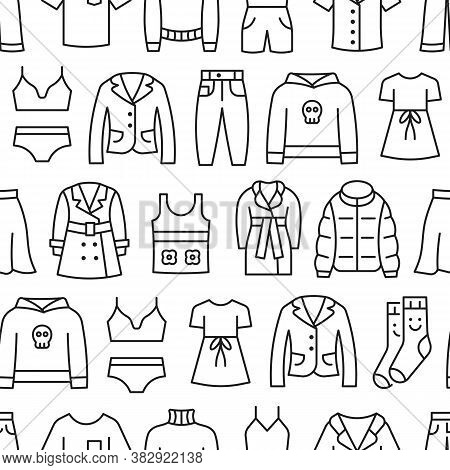 Woman Clothing Line Icon Seamless Pattern. Dress, Skirt, Blazer, Jacket, Jeans, Pants, Sweater Flat