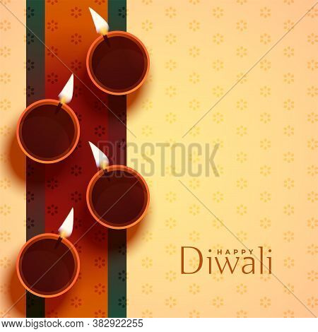 Auspicious Happy Diwali Diya Lamp Decoration Vector Design Illustration