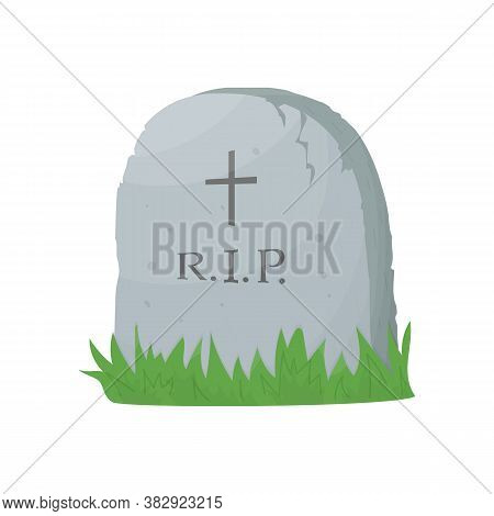Tombstone On Grave. Stone Monument With Cross And Rip Text. Rest In Peace. Isolated Cartoon Vector I