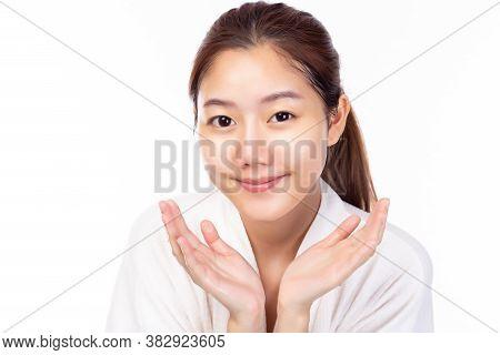 Portrait Beautiful Young Asian Woman Clean Fresh Bare Skin Concept. Asian Female Beauty Facial Skin
