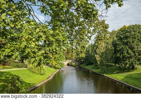 Beautiful Park With A Canal In The Center Of The City Of Riga, Latvia