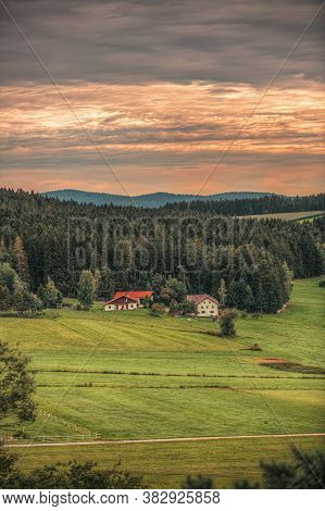 Beautiful Landscape Sunset Scene Over German Bavaria