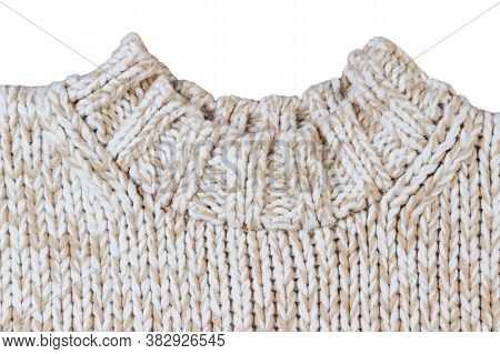 Knitted Neckline Of Light Sweater Isolated On White Background