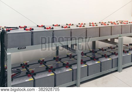 Battery Pack In Battery Room In Power Plant For Supply Electricity In Plant During Shutdown Phase, R