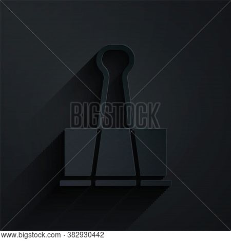 Paper Cut Binder Clip Icon Isolated On Black Background. Paper Clip. Paper Art Style. Vector Illustr