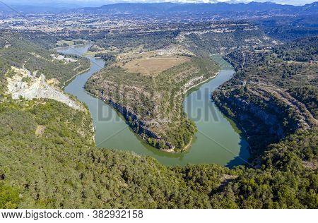 Meander Ter River Bend Near Girona Spain.