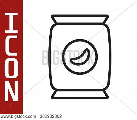 Black Line Bag Or Packet Potato Chips Icon Isolated On White Background. Vector Illustration