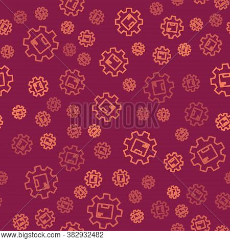 Brown Line Gear Wheel With Package Box Icon Isolated Seamless Pattern On Red Background. Box, Packag