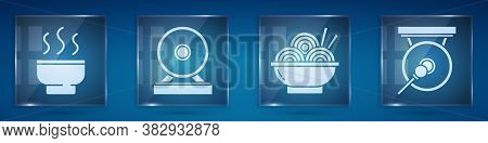 Set Chinese Tea Ceremony, Gong, Asian Noodles In Bowl And Gong. Square Glass Panels. Vector