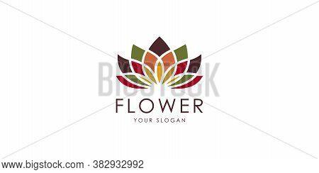 Modern Lotus Flower Logo Vector Premium Template