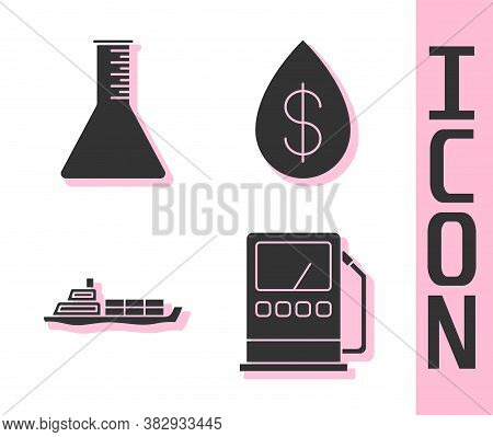 Set Petrol Or Gas Station, Oil Petrol Test Tube, Oil Tanker Ship And Oil Drop With Dollar Icon. Vect