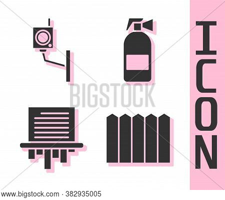 Set Garden Fence Wooden, Security Camera, Paper Shredder And Fire Extinguisher Icon. Vector