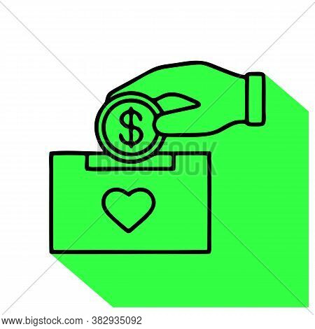 Donation Box Linear Icon. Moneybox. Thin Line Illustration. Fundraising. Donate Money To Charity. Ha