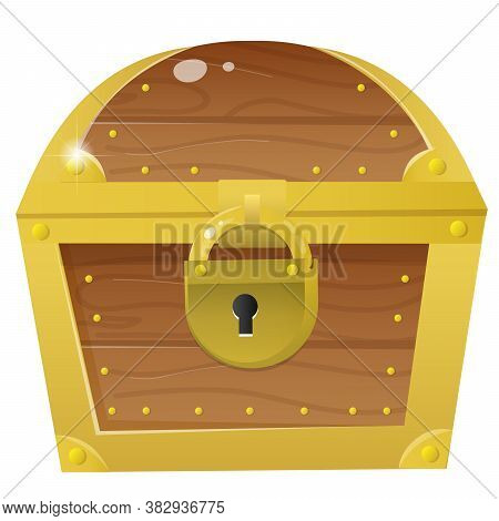 Color Image Of Cartoon Treasure Chest On A White Background. Closed Coffer With Lock . Decorative El