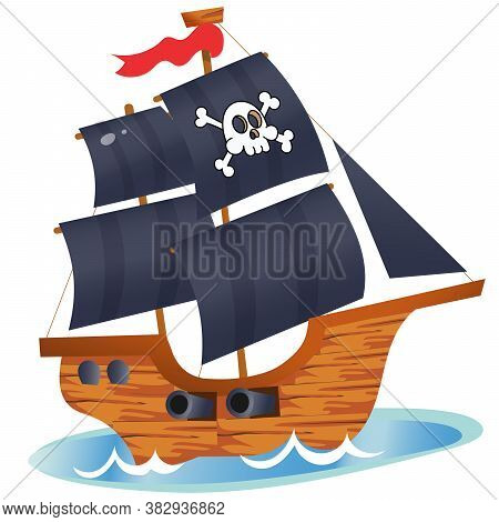 Color Image Of Cartoon Pirate Ship On A White Background. Sailboat With Black Sails With Skull In Se
