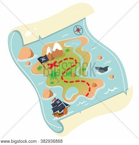 Color Image Of Cartoon Treasure Map On A White Background. Pirate Map Of Treasure Drawing. Decorativ