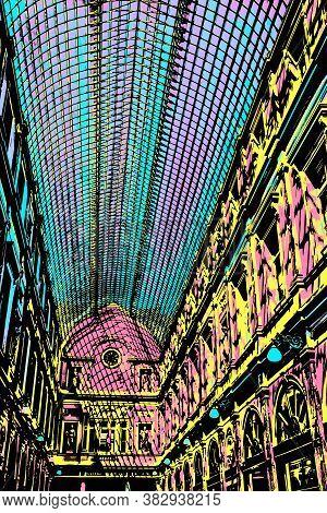 Brussels, Belgium, July 04, 2017. Glass Ceiling Of The Galeries Royales Saint-hubert In Brussels, Th