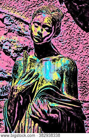 Saint-paul-de-vence, France, July 13, 2016. Woman Statue With Sad Figure In The French Provence. Bla