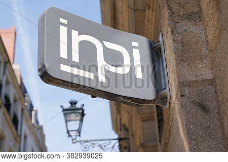 Bordeaux , Aquitaine / France - 08 25 2020 : Inpi Logo Sign On Wall Building Of Institut National De