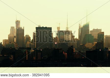 New York City midtown skyline urban view with historical architecture