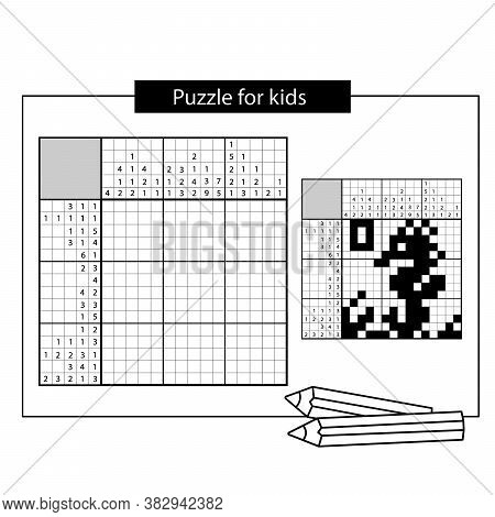 Seahorse. Marine Life. Black And White Japanese Crossword With Answer. Nonogram With Answer.  Puzzle