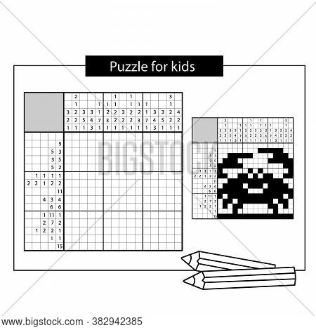 Crab. Marine Life. Black And White Japanese Crossword With Answer. Nonogram With Answer. Puzzle Game