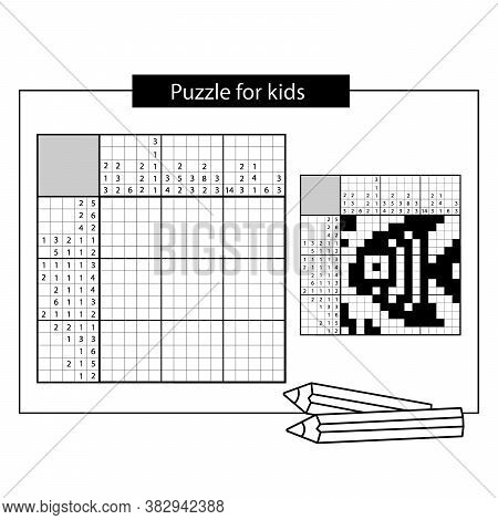 Fish. Marine Life. Black And White Japanese Crossword With Answer. Nonogram With Answer.  Puzzle Gam