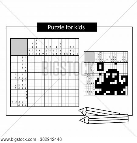 Octopus. Marine Life. Black And White Japanese Crossword With Answer. Nonogram With Answer. Puzzle G