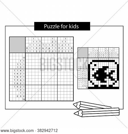 Aquarium With Fish. Black And White Japanese Crossword With Answer. Nonogram With Answer.  Puzzle Ga
