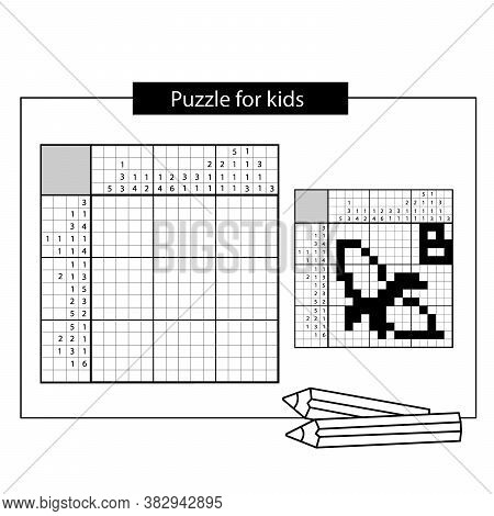Banana. Black And White Japanese Crossword With Answer. Nonogram With Answer.  Puzzle Game For Kids.