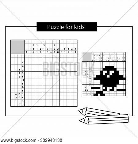 Chick With Worm. Black And White Japanese Crossword With Answer.  Graphic Crossword. Puzzle Game For