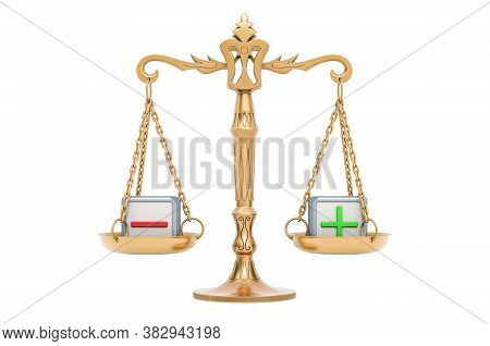 Scales, Balance Plus Or Minus Concept. 3d Rendering Isolated On White Background