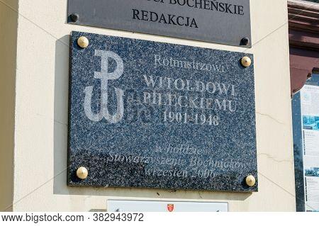 Bochnia, Poland - June 13, 2020: Plaque Commemorating Of Witold Pilecki.