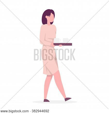 Secretary Carries A Tray Of Coffee. Side View. Color Vector Cartoon Illustration. Isolated On White.