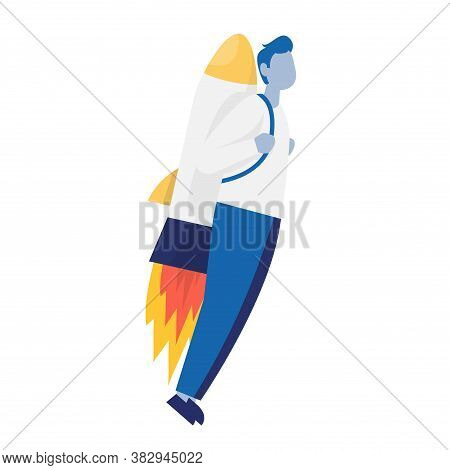 Businessman Flying Up By Rocket. Concept Business Growth V Stages Of Climbing The Stairs. Color Vect