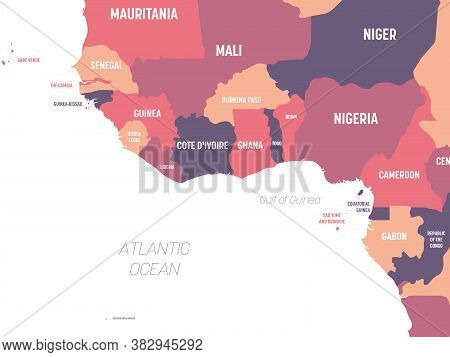 Western Africa Map. High Detailed Political Map Of Western African And Bay Of Guinea Region With Cou
