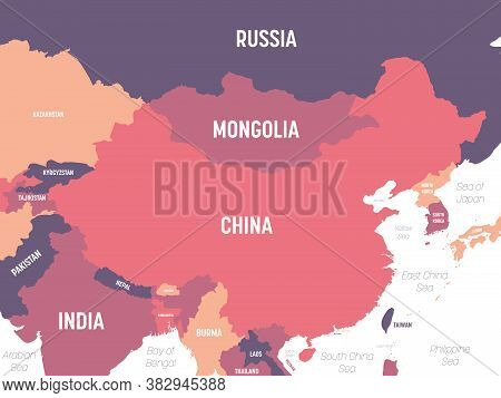 China Map. High Detailed Political Map Of China And Neighboring Countries With Country, Ocean And Se