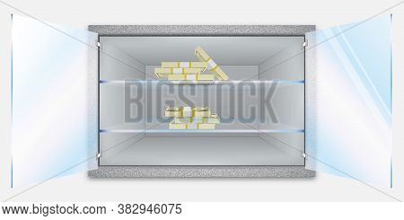 Storage Of Cash And Valuable Items. Banking Concept. Open Shelf With Banknotes. Start A Business. Fe
