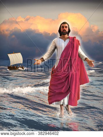 Jesus Christ Walking On Water Of The Sea Of Galilee With The Disciples In A Fishing Boat And A Cloud